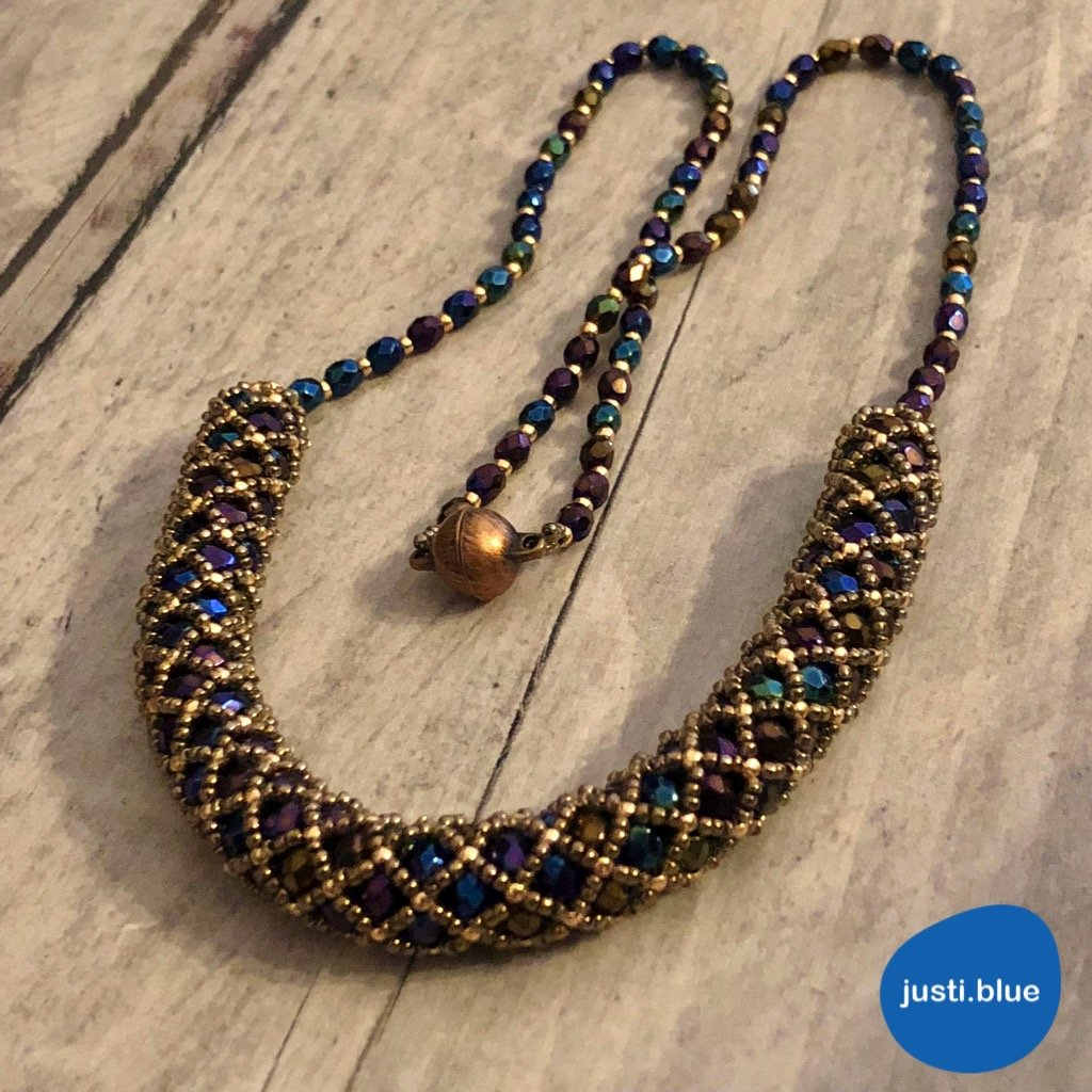blue gold tubular netting necklace front view justi blue