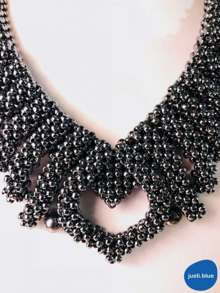 hematite necklace view from above larger