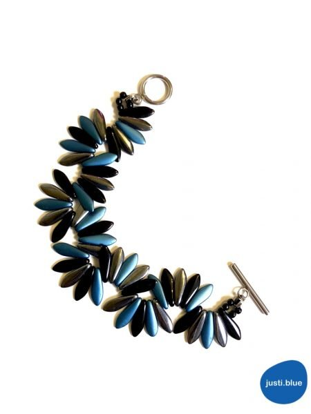 black silver blue bracelet top view justi blue