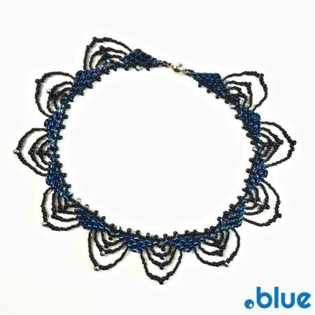 blue black seed bead necklace