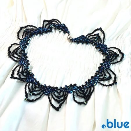 blue black seed bead necklace top white bg