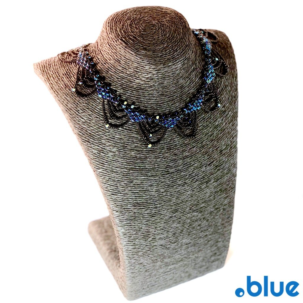 blue black seed beads necklace jewellery display full