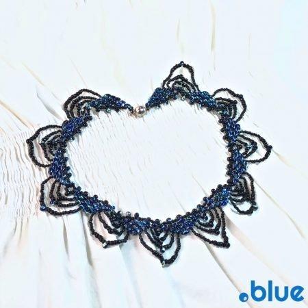 blue black super duo necklace top white