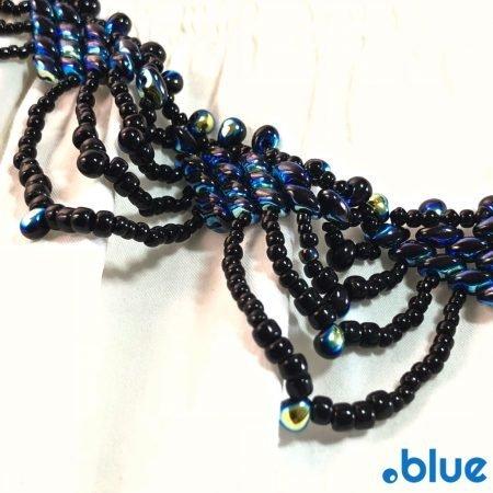 blue black superduo nacklace details justi blue